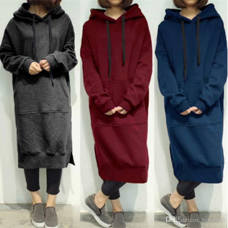 Qualidade Moda Casual Mulheres Plus Size Primavera Outono longo pulôver de lã com capuz vestido camisola
