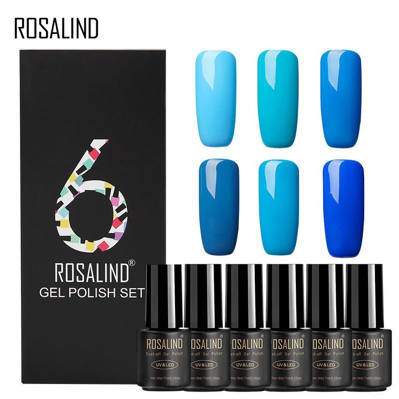 (6 PÇS / LOTE) ROSALIND Verniz Gel Polonês 7 ML Vernis Semi Permanente Cores Puras Manicure UV LED Curado Gel Unha Polonês para DIY Nail Art