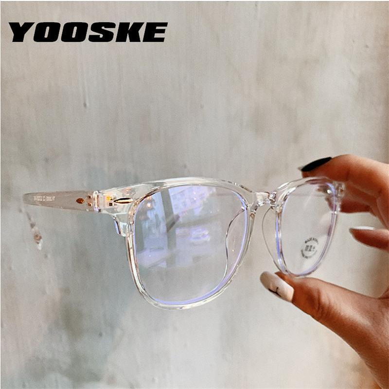 YOOSKE 2020 Anti Bleu Lunettes de lunettes pour femmes Frame Cadre informatique Lunettes Vintage Hommes Lunettes Cadres Transparent