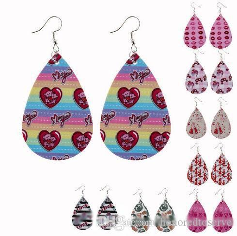 Boucles d'oreilles Saint Valentin en cuir pour femmes mixte Lot léger Faux cuir feuille Boucles d'oreilles Teardrop Dangle main cadeau