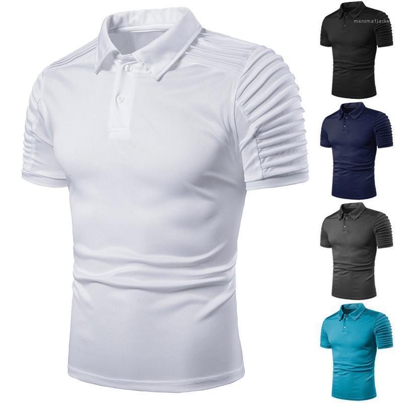Mens конструктора тройники сталкиваясь рубашки поло Homme Men Сплошной цвет Воротник Тонкий кнопки Модная одежда лето
