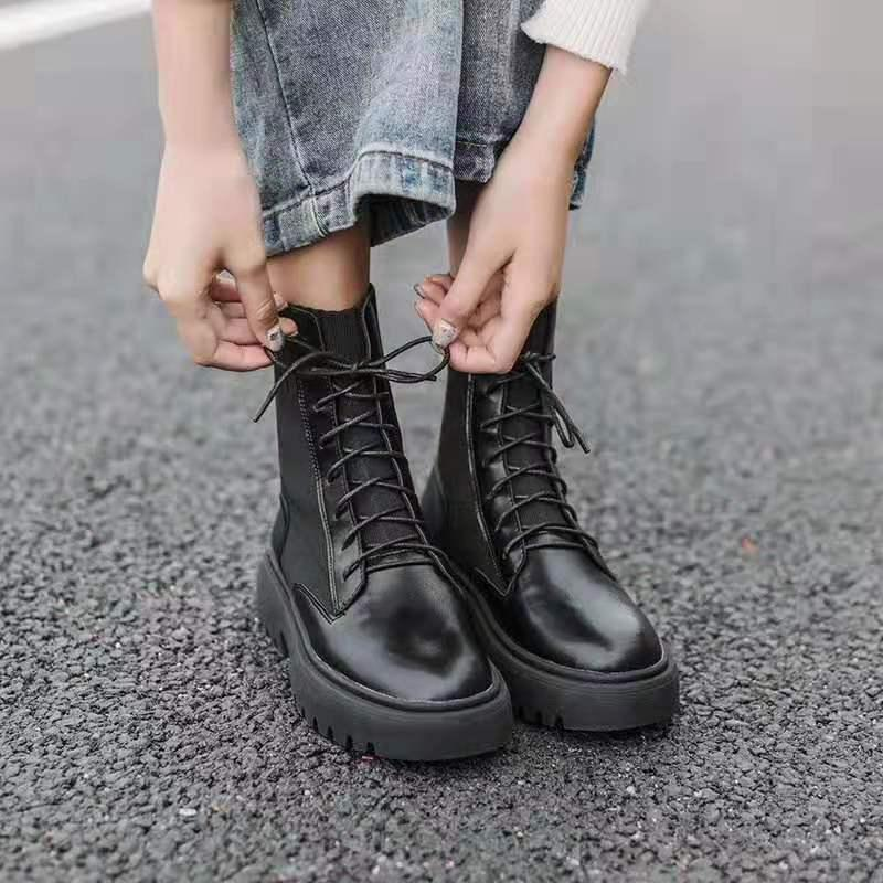 2020 New England Stil Martin Çizme Bayan Çizme Kalın Topuk Yakışıklı Motosiklet Boots Kadın Platformu Bilek