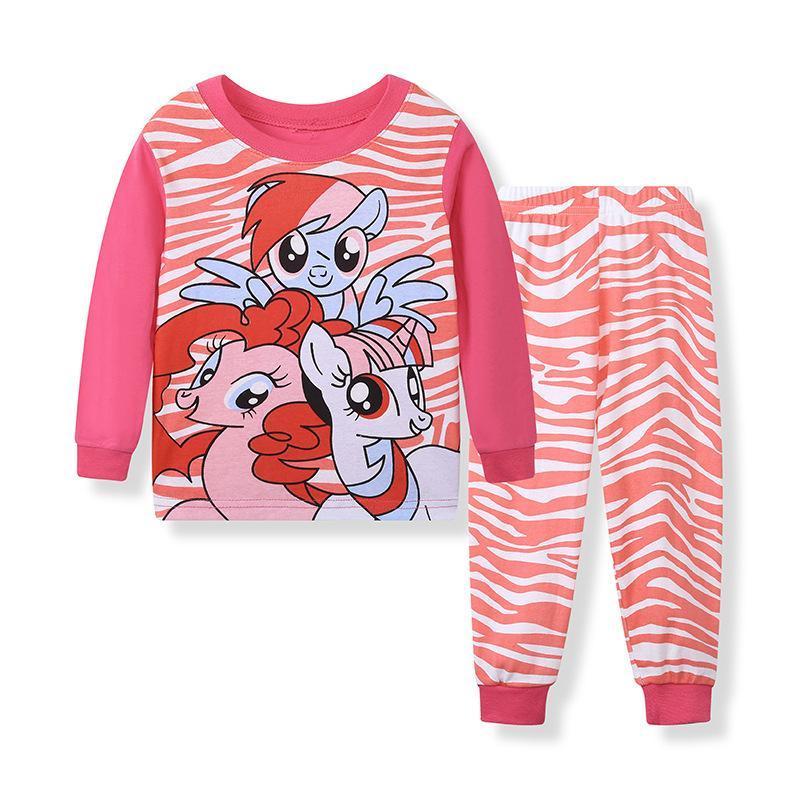 Девочки Пижамы Roupas Infantis Menina Пижама Fille Новый хлопок Детская одежда Удобный костюм лошадь мультфильм 2-7y