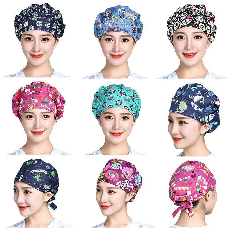 Scrubs Caps Verstellbare Kopfdeckel Bouffant Kappen Sombrero Mujer Cartoon-Blume druckte Baumwolle Caps waschbare Arbeitskleidung Kappen