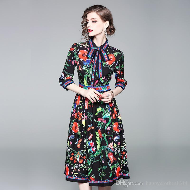 2021 kadın Baskılı Pileli Gömlek Elbise Lüks Moda Pist Düğmesi Ön Yaka Boyun Zarif Elbiseler İlkbahar Sonbahar Kış Ofis Bayan Seksi Ince Parti Akşam Frock