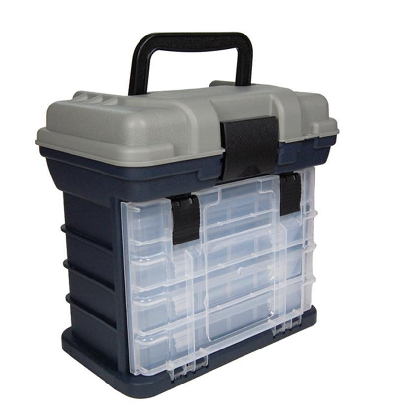 Caja de almacenamiento de pesca de 4 capas, señuelo móvil, cebo, ganchos, herramienta de tacleado, contenedor con mango, organizador de caja de plástico, caja exterior portátil LJJZ823