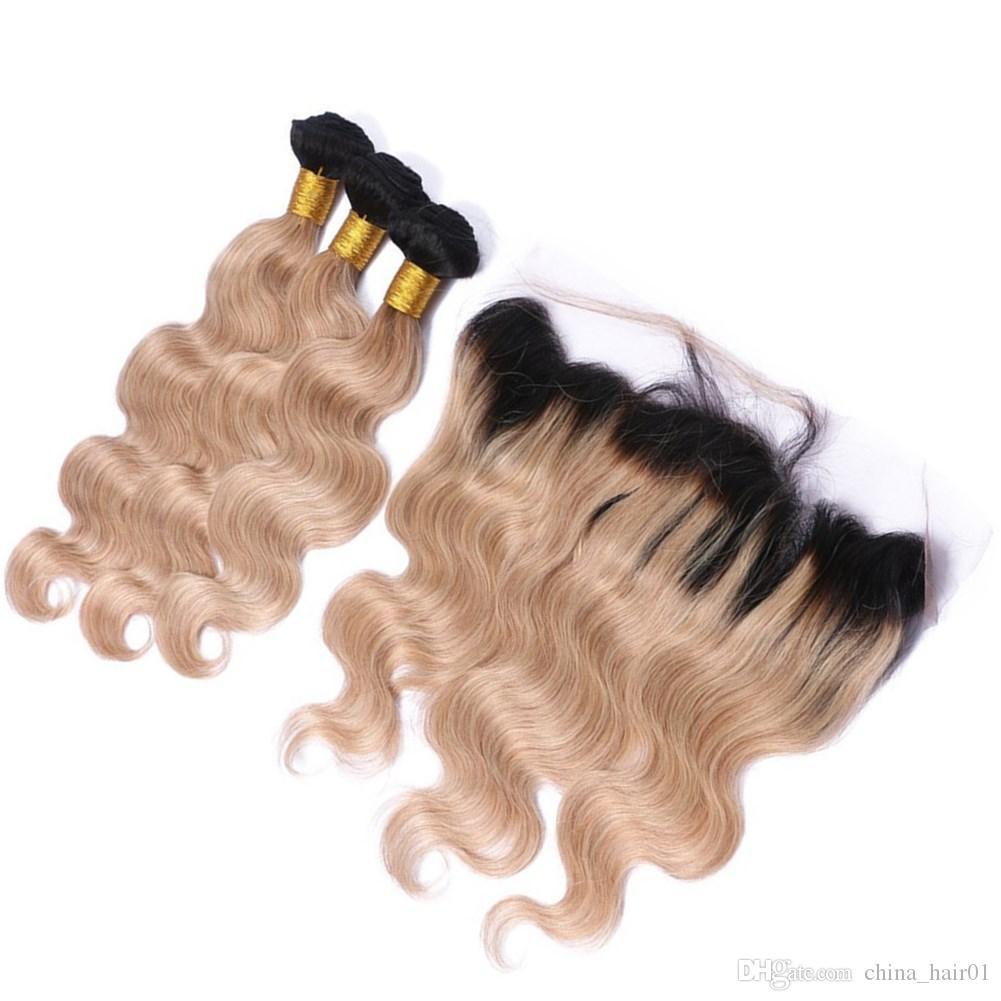 # 1B / 27 escuro Root Mel loira Ombre Virgin 3Bundles cabelo com frontais onda do corpo Ombre Luz Brown tece com 13x4 Lace frontal Encerramento