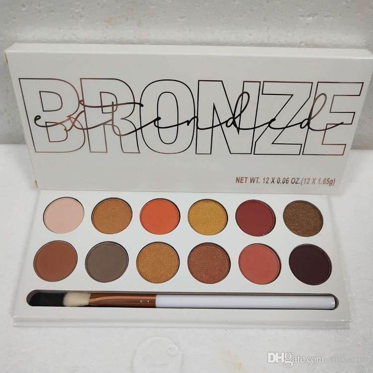2018 mais novo olho cosméticos bronze Pó compacto Palette Eyeshadow Paleta 12 cores fosco sombra Paleta com escova DHL gratuito 1