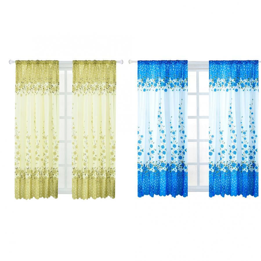 Estilo del sudeste asiático Inicio impreso manera Rose cortina corta transpirable cortina de la ventana