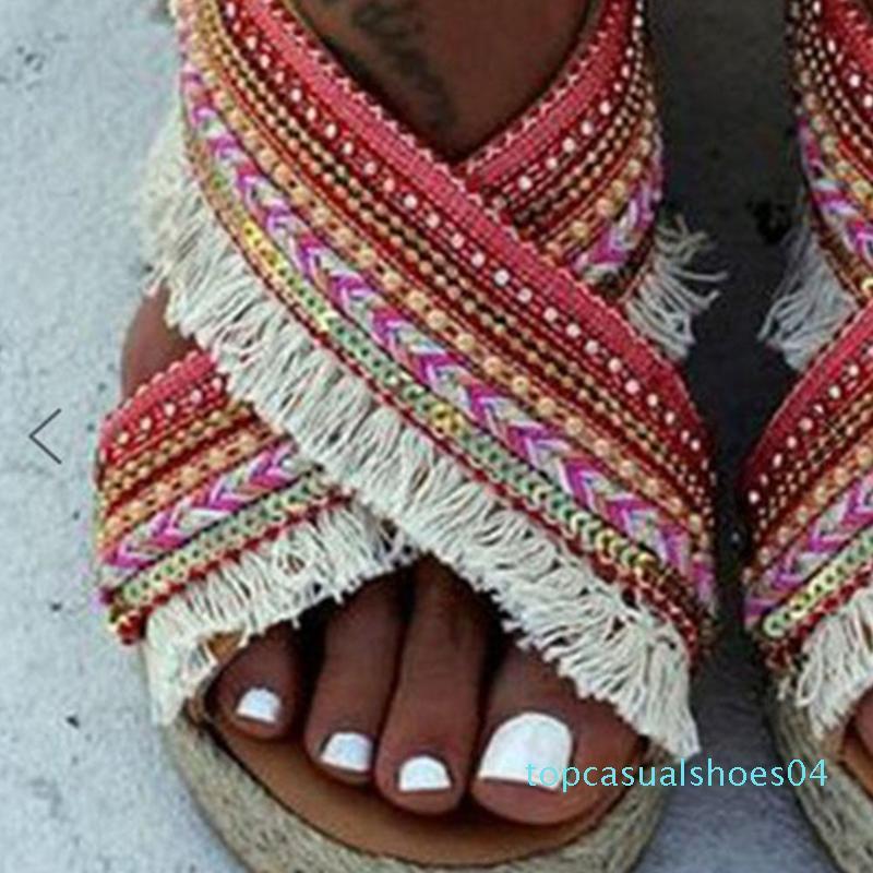 RIBETRINI Retro Femmes Chaussures d'été Femmes Retour Bracelet Fringe plat Sandales Fringe à bout ouvert à la main Sandales T04