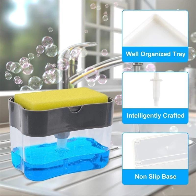 2 in 1 pompa dispenser di sapone e spugna Caddy lavaggio della mano per il piatto di sapone spugna da cucina casa Strumenti bagno