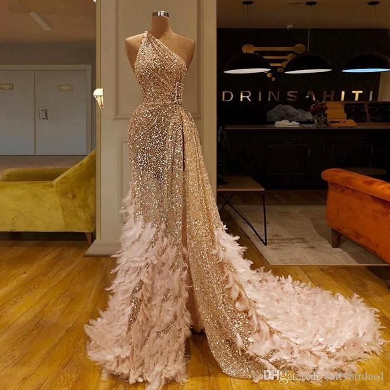 2020 Sparkly Sequined Champagne Prom Dresses Luxury One Shoulder Mermaid Evening Dress With Feathers Long Formal Party Pageant Gown