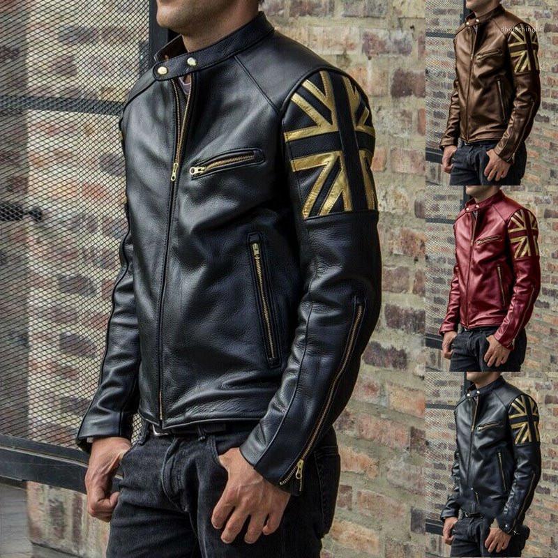Куртка дизайнер Лоскутная Тонкий пальто способа Mens Zipper Верхняя одежда Роскошные мужские PU