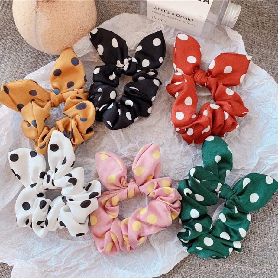 1 STÜCK Tupfen Design Chiffon Stoff Haar Haargummi Pferdeschwanz Inhaber haargummis Gummibänder Häschenohren Nette