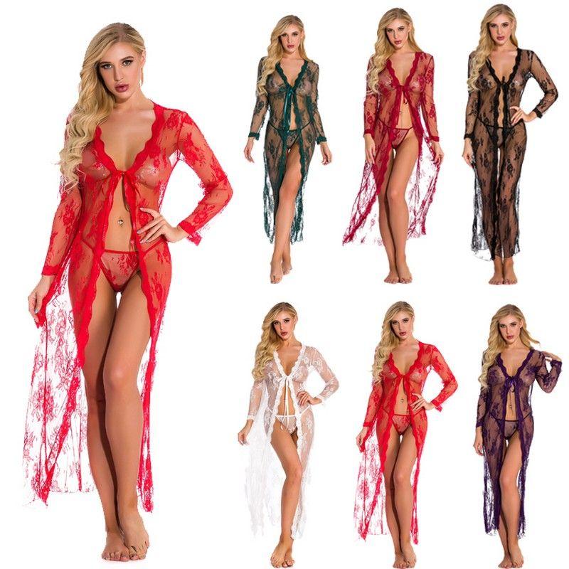 مثير الأكمام الطويلة ملابس مفتوحة الأمامية رداء الملابس الداخلية للنساء الدانتيل الطويل والشابات ثوب شير انظر من خلال كيمونو رداء زائد S-4XL متعدد الألوان