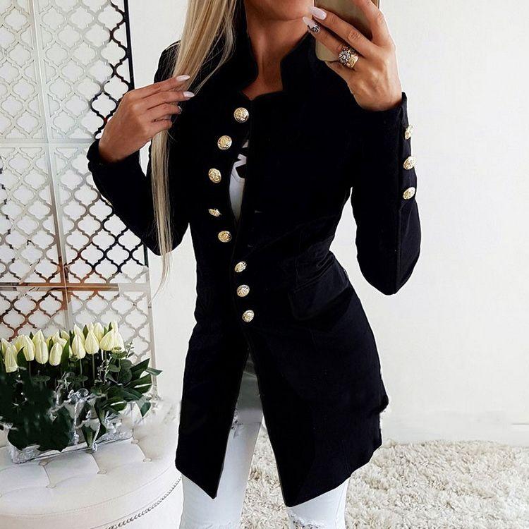2019 Nova Moda tendência das mulheres casaco estilo quente Europa e nos Estados Unidos manga longa botão slim pequeno paletó novo estilo