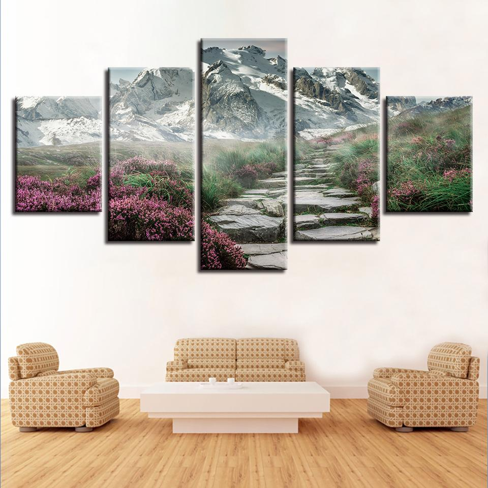 HD görüntü tuval üzerinde bir sanatçı dekore yatak odasında dağ çiçeği yol manzara resimlerinin 5 modüler afişleri yazdır