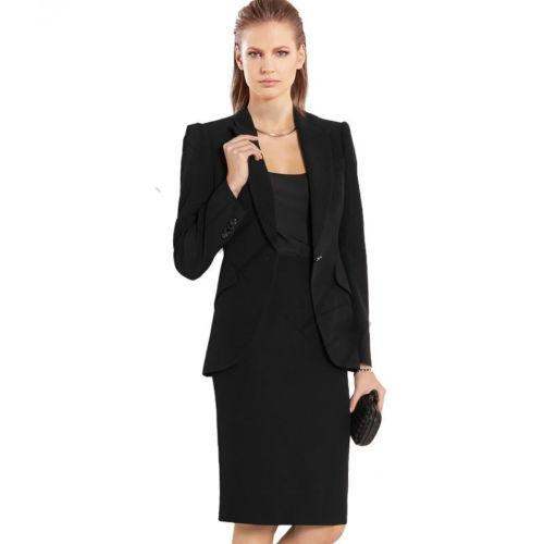 Ternos pretos Mulheres de negócios de Slim senhoras Primavera Outono Fatos saia Formal 2 Piece Sets Outfits B350