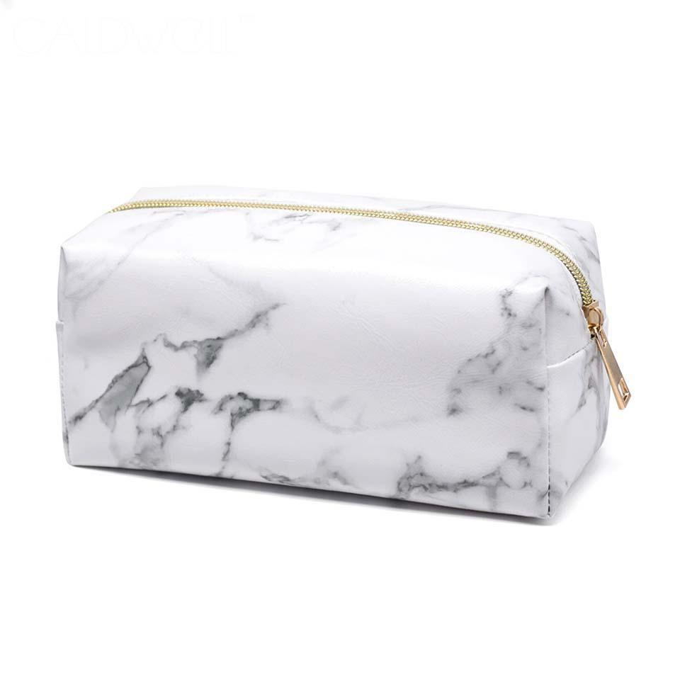 Le donne di grande capienza Cosmetic Bag in marmo compongono il sacchetto portatile toilette borsa Student Student Travel Kit Cancelleria di stoccaggio caso