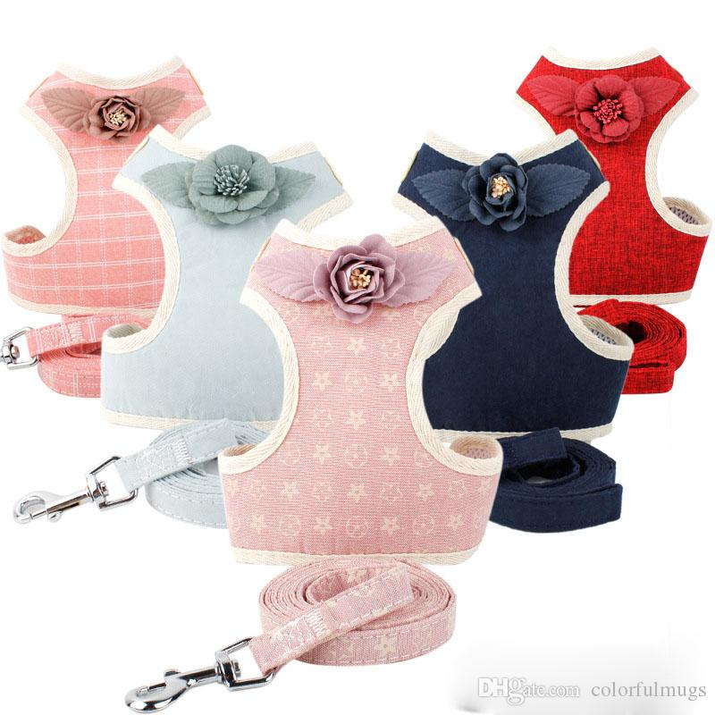 Fashion Floral Dog Harnesses Simple Style Designer Teddy Dog Leashes High Quality Outdoor Breathable Harnesses for Pet