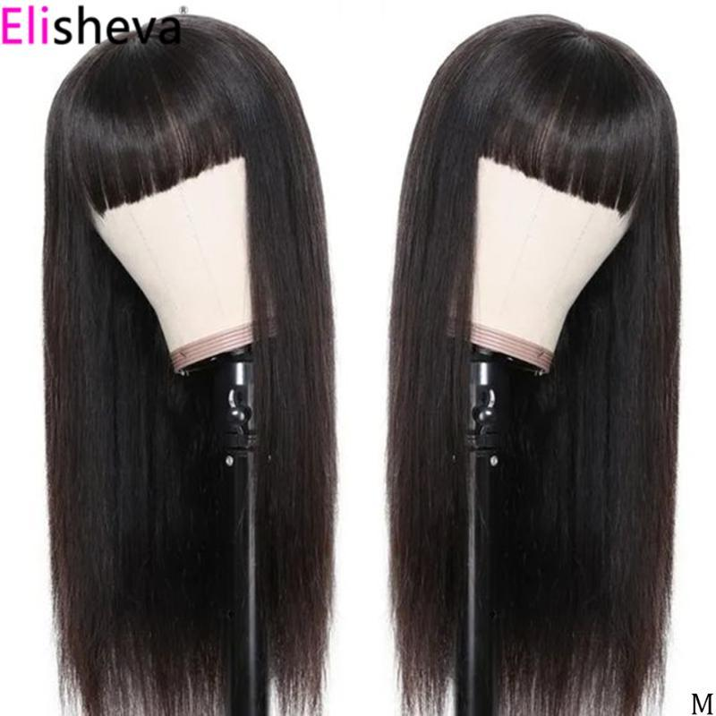 Straight lace front wig with bangs Transparent 13x6 Lace Front Human Hair Wigs With Bang Pre Plucked Peruvian Wigs Remy 150%