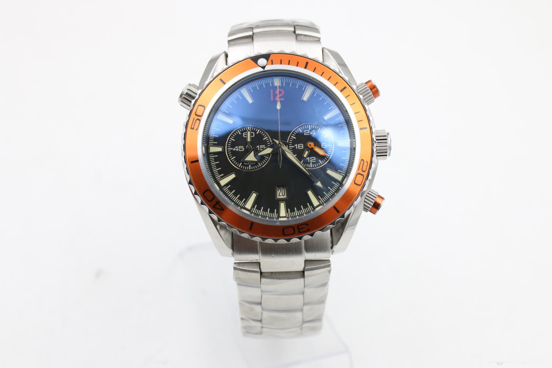 izlemek erkek kuvars Chronograph çelik kronometre Profesyonel turuncu çerçeve Eş Eksenli gezegen okyanus usta erkek kol saatleri saatler waches