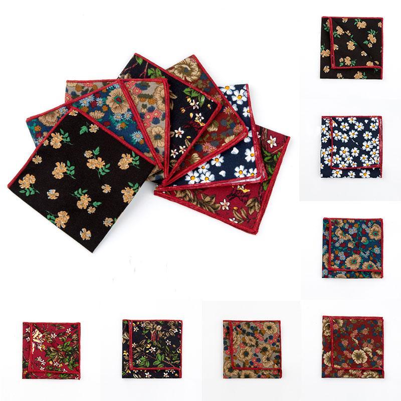 Pocket Fashion Square floreale fazzoletto di cotone a righe floreale Hanky Vestito da 24 24cm *