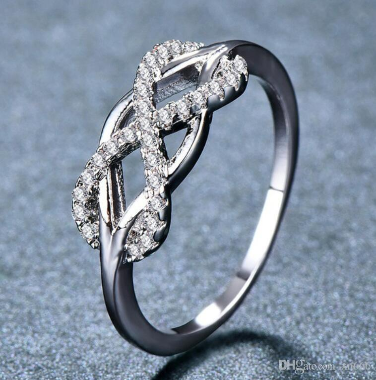New creative diamond ring with 8 characters, European and American classic heart and arrow zircon ring