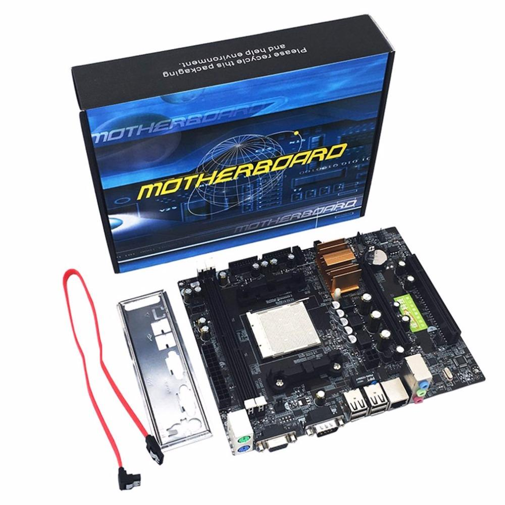 Freeshipping N68 C61 دعم اللوحة الأم سطح المكتب ل AM2 ل AM3 CPU DDR2 + DDR3 ذاكرة اللوحة مع 4 منافذ SATA2