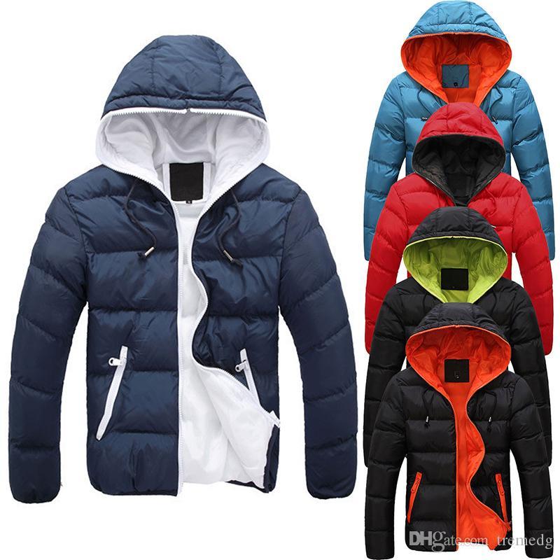 Fashion Hommes d'hiver Parka chaude veste à capuche slim décontractée manteau de coton à capuche à capuche épaisseur