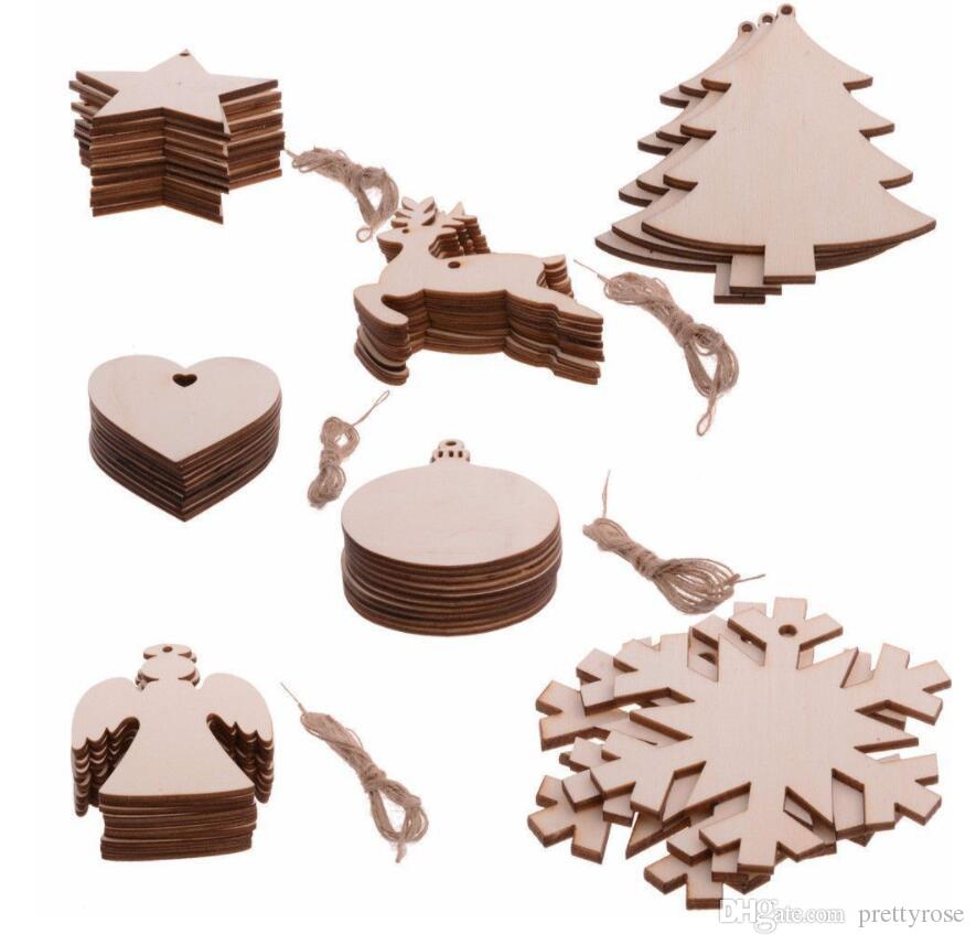 Père Noël Sowflake étoiles Bottes Bells Arbre de Noël Hanging Fête des ornements en bois de Noël Décorations pour la maison d'arbre de Noël Pendentif