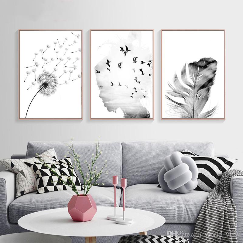 Blanco y negro Pájaro Chica Diente de león Pluma Paisaje Arte de la pared Pintura en lienzo Abstractos Pósters e impresiones nórdicas Minimalista Cuadros de pared f