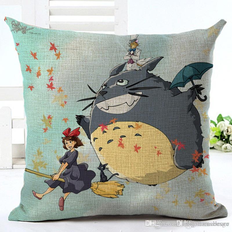 Decoración 45 * 45cm casa Sofá Tire la funda de almohada de lino cubierta de almohadas sofá de la silla Cojín Totoro impreso historieta funda de almohada AC BH0877