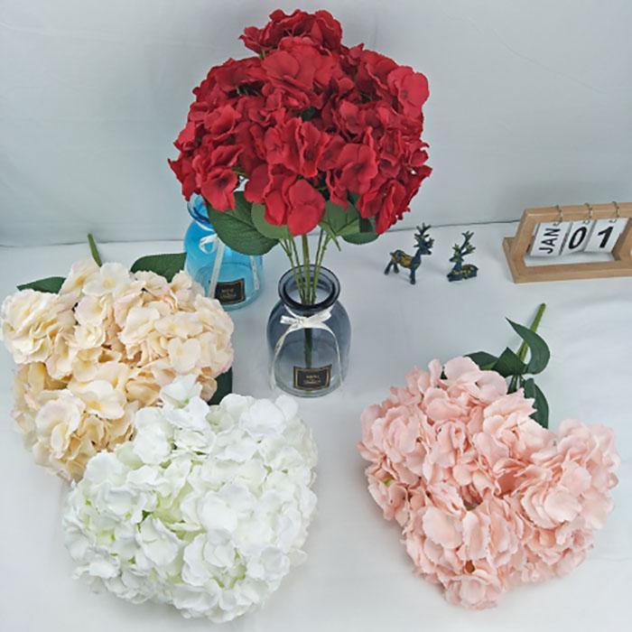 fleurs artificielles hortensia bouquet 7 branches décoration de mariage chambre décoration de jardin maison de fleur de soie maison mur de fleurs 4color
