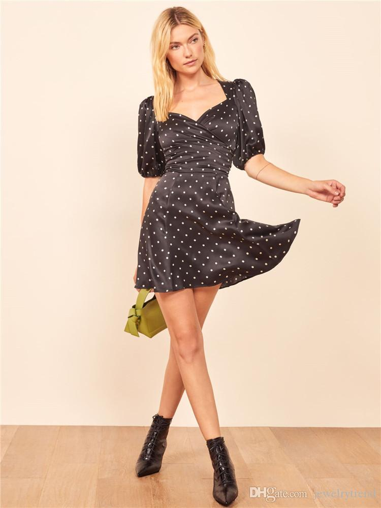 Party Dress Black Dress Womens Dots C5163 nuova estate Europa Vintage Lady Croce Backless casuale sottile
