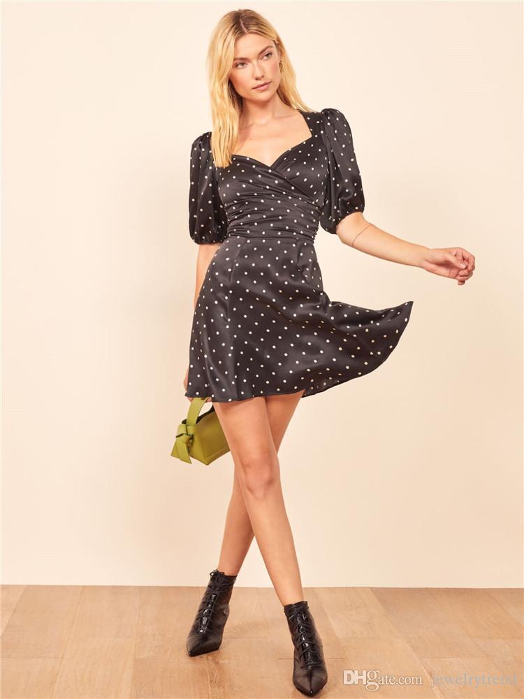 Dots Womens C5163 New Verão Europa Vintage Black Dress Lady Cruz Backless Magro Casual vestido de festa