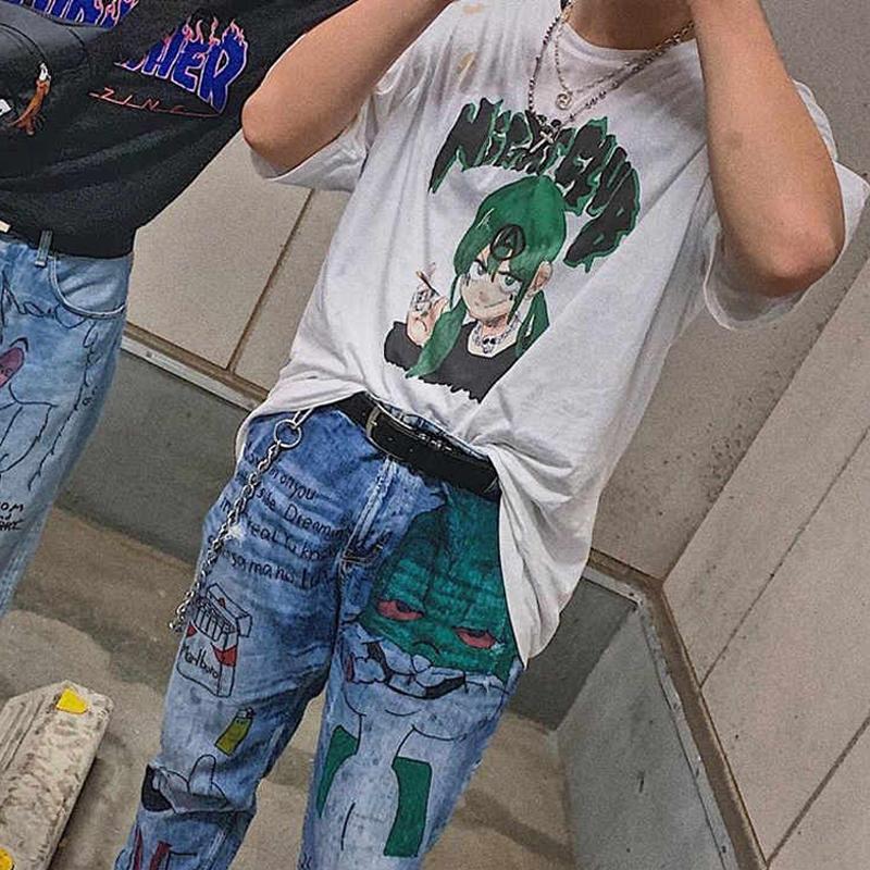 20FW Green Cartoon Character Green Printing Tee T-Shirt Summer Short Sleeves Men Women Street Skateboard Crew Neck New Style HFHLTX076