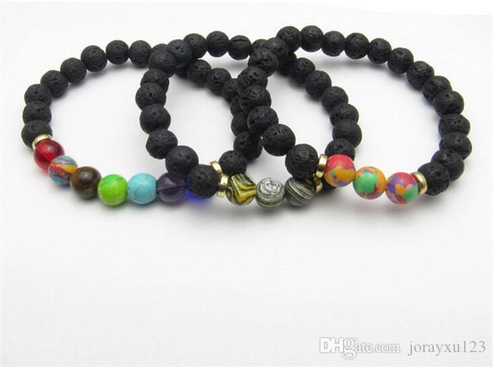 100pcs Lava Natural Stone beads Bracelets 7 Color Stone Beaded Fashion Bracelet Bangle J199