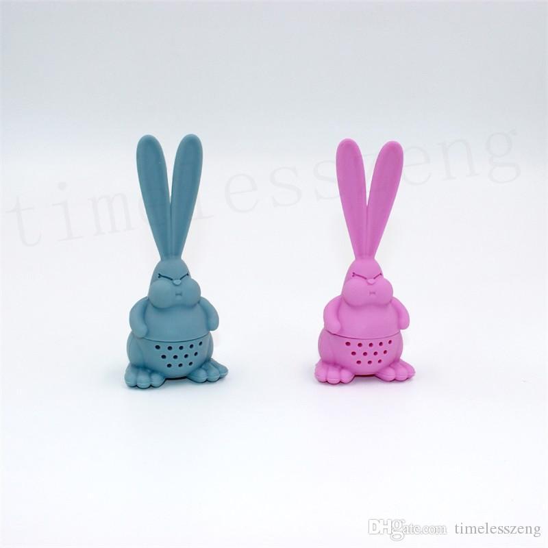 Cartoon Angry Rabbit Tea Infuser Food Grade Silicone Rabbit Tea Strainer Big Ear Rabbit Tea Bag