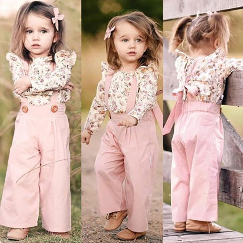 Kind-Mädchen-Kleidung stellte Rosa Fliegen Petal Langarm mit Blumenmuster Tops T Shirts + Lange Strumpfhose Pricess Mädchen Bekleidungsset