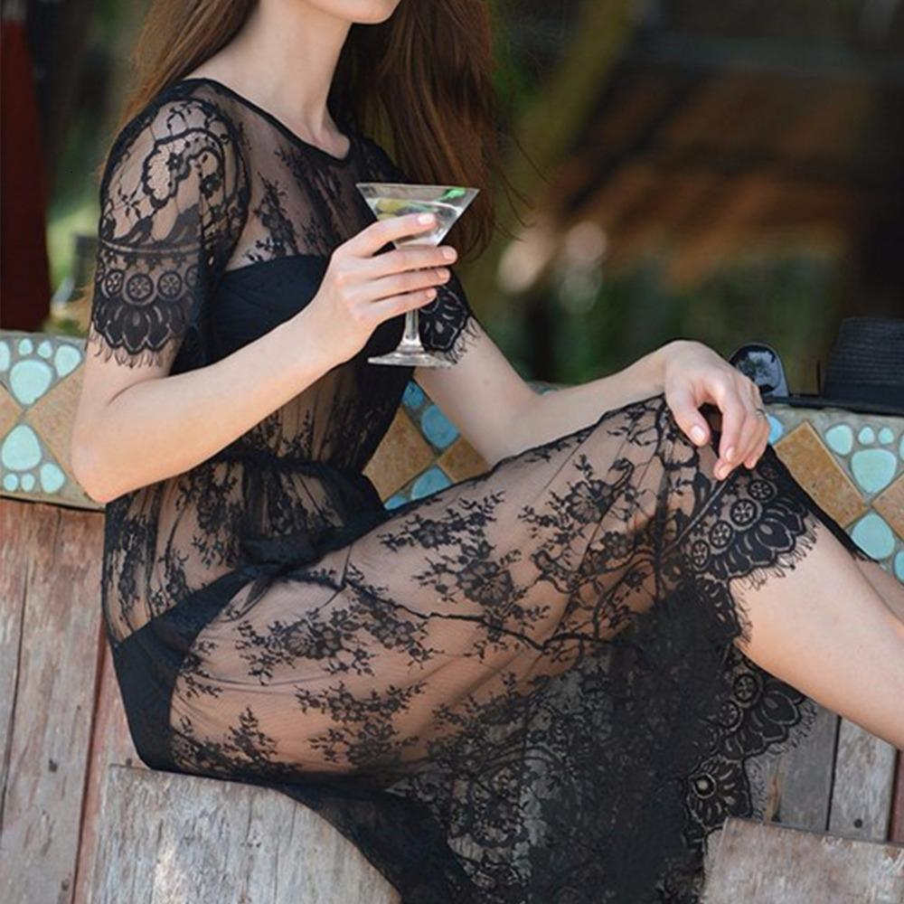 Ladies Vestidos Mulheres Roupa Verão Mulheres Midi Vestidos Long Black manga curta O Neck ver através de Beach Wear Lace Sexy Vestido