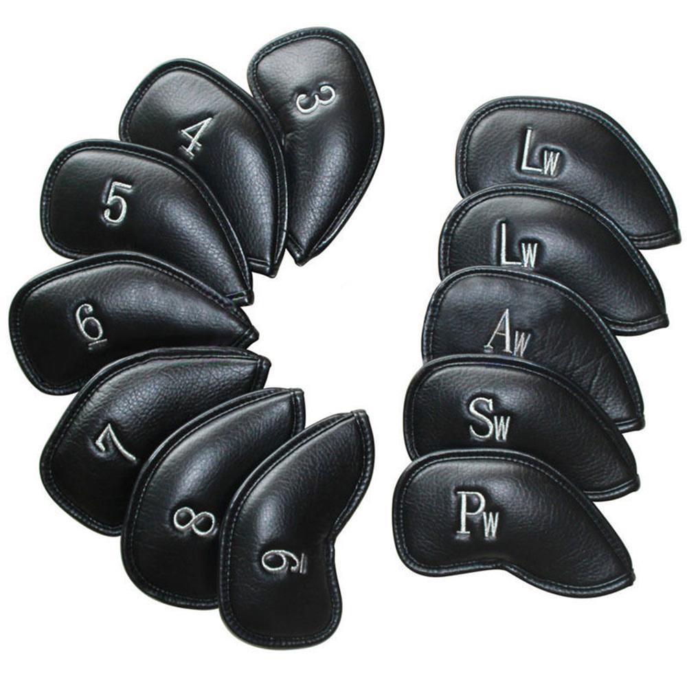 12 unids / set Cuero de golf Club de golf Cubiertas de cabeza de hierro Golf Cubierta de cabeza Cubierta de cabeza de alta calidad Accesorios