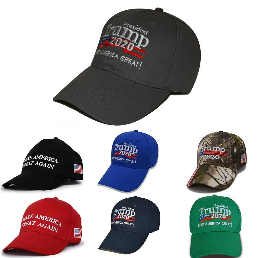 Вышитые Hat 2020 Trump Make America Great Опять шляпы хлопок Материал камуфляж зеленый серый Бейсболка Горячий продавать 11Zg L1 # 424