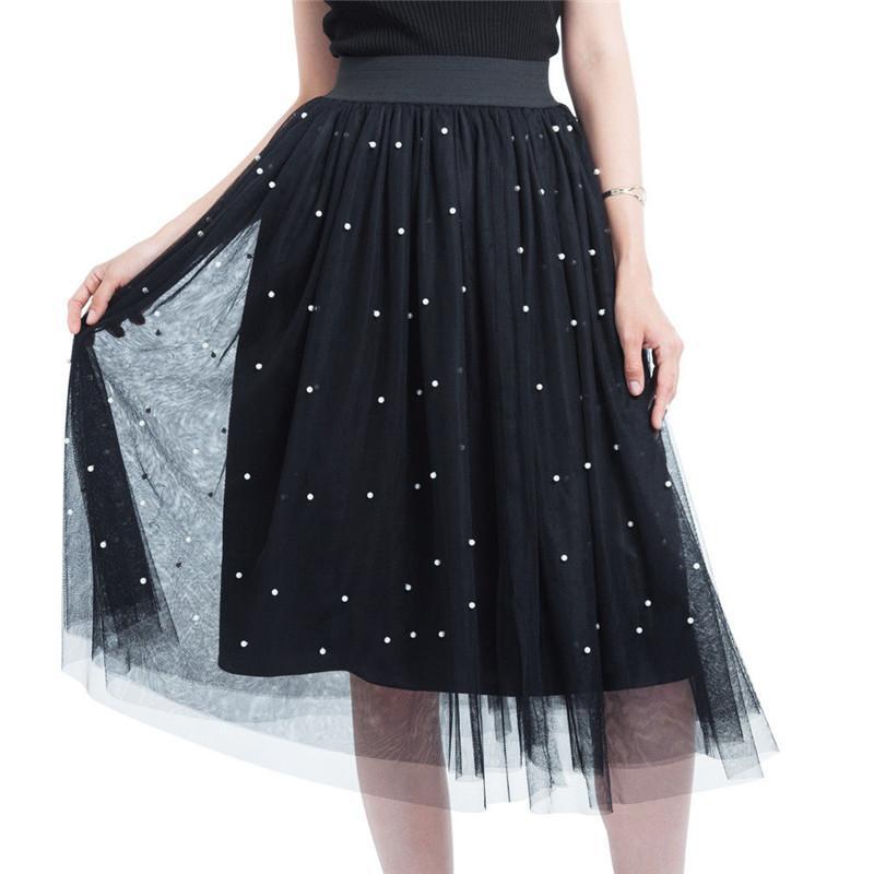 Les nouvelles femmes 3 couches de tulle dames tutu jupe plissée midi taille haute jupe vêtements de fête de mariage Jupon