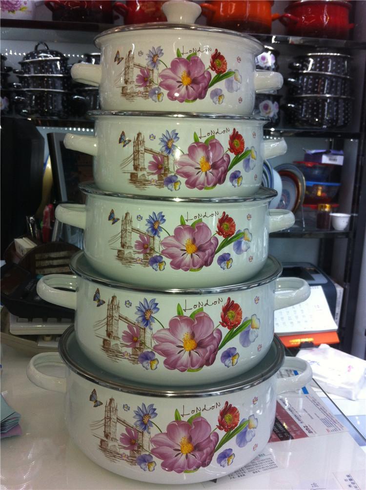 5pots cazuela Conjunto esmalte ollas de cocción calientes Cocine Olla de cerámica de cerámica para cocinar guisado de la sopa Pot