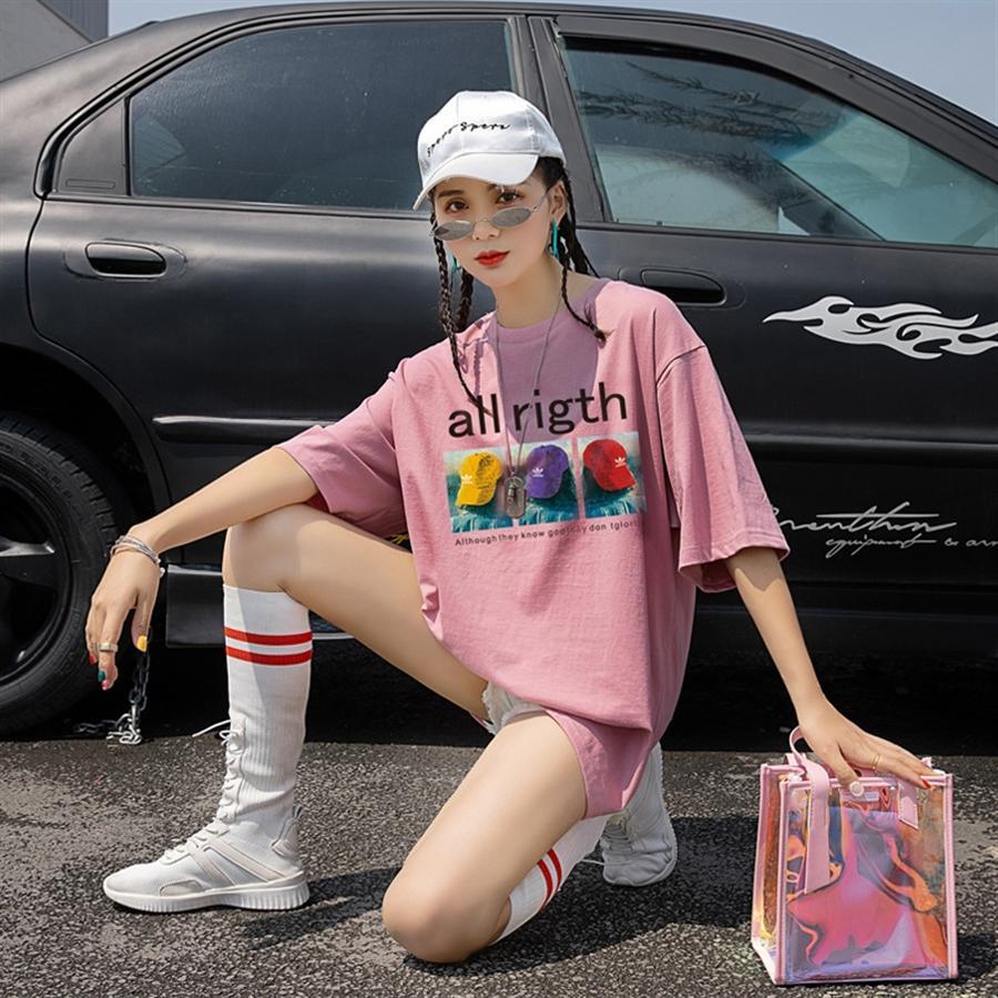 2020 weißes Kurzarm-T-Shirt-Stoff T-Shirt Baumwolltuch weiblichen ins Art und Weise losen midi Student Baumwolltop