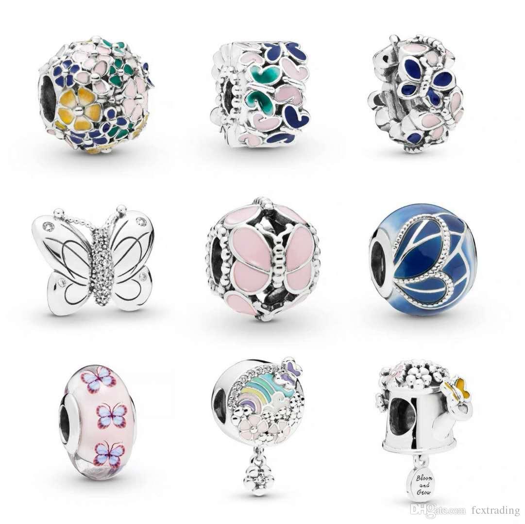 De nouvelles perles de charme de fleurs de papillon Style pour Bangle Bracelet bijoux collier bricolage Charms trou Accessoires comme cadeau