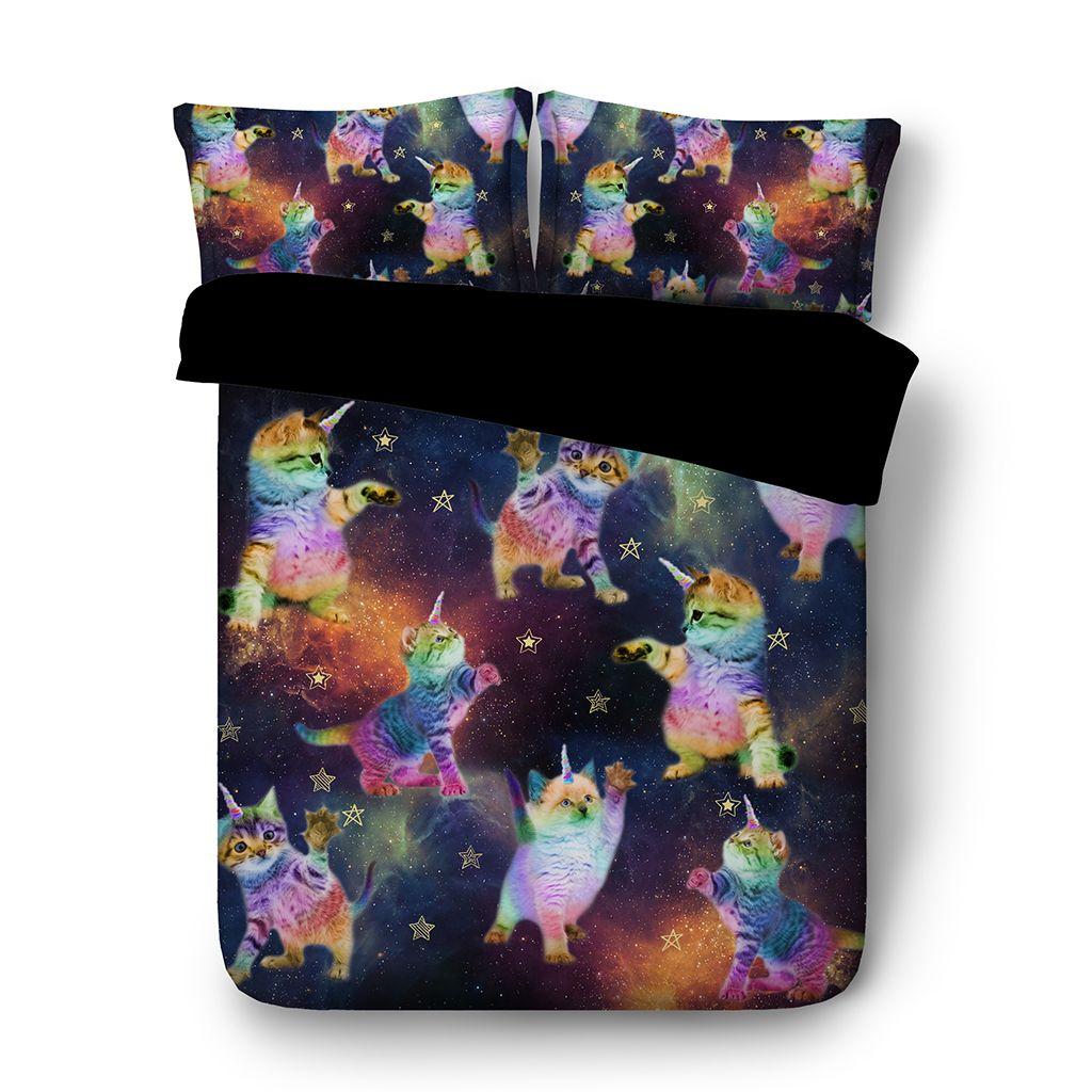 roupa de cama de gato capa de edredão azul edredom queen size conjuntos de cama azul rainha galáxia colchas verdes tamanho Queen Roupa comfo gêmeo