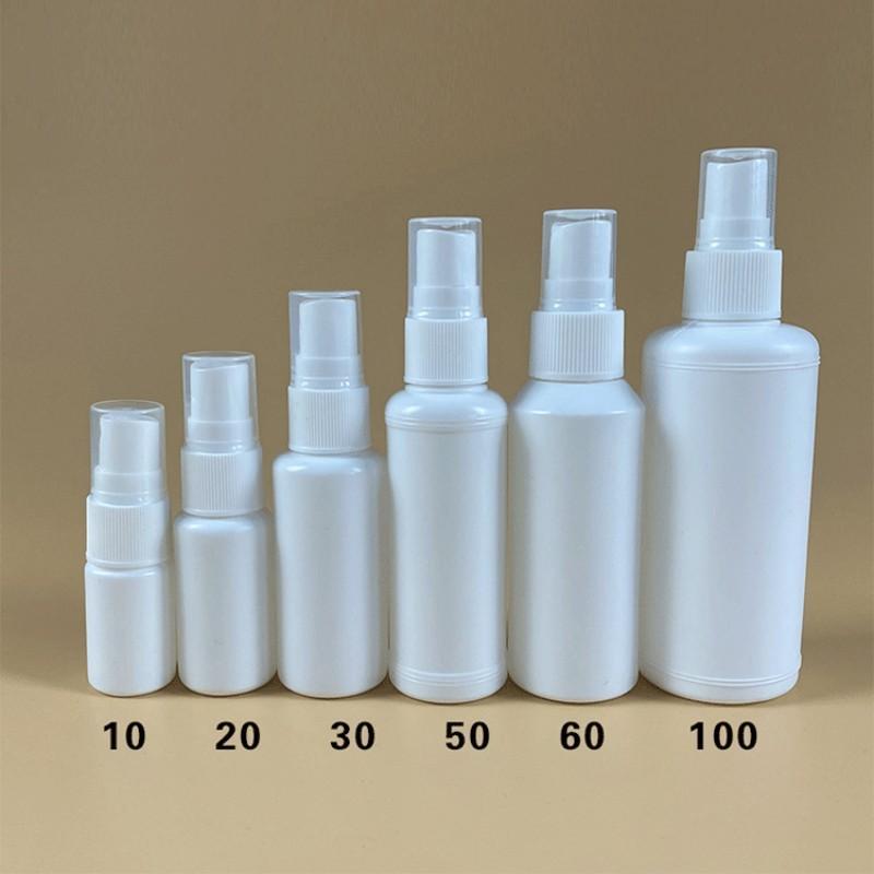 10ml 20ml 30 ml 50 ml de bouteilles de pulvérisation en plastique blanc de 100 ml de 100 ml de 100 ml rechargeable de brouillard fine pulvérisateur de bouteilles maquillage de maquillage atomiseur cosmétique conteneur