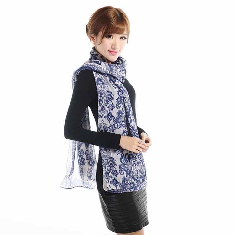 Toptan-Moda 165cm * 85cm Vintage Porselen Stil Uzun Yumuşak Pamuk Vual Baskı Kadınlar Lady Eşarplar Şal Eşarp kadın bufanda mujer